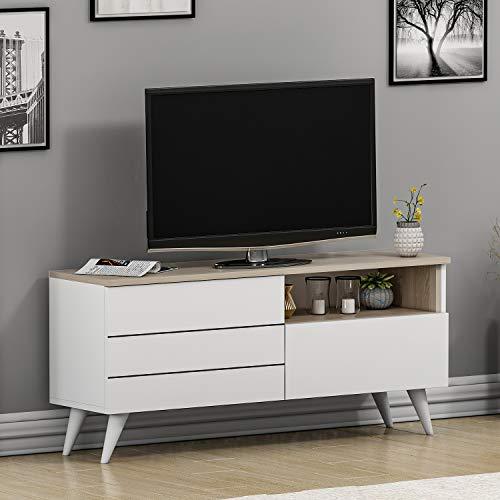 HOMIDEA Leon Set Soggiorno - Mobile TV - Credenza TV - Parete Attrezzata in Design Moderna (Bianco/Avola)