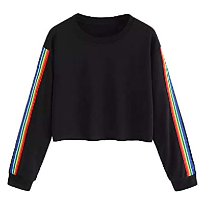 Aniywn Women Girls Rainbow Stripe T-Shirt Patchwork Short Sweatshirt Hoodie Tops