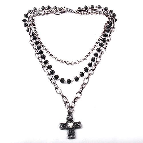 Collares Mujer,Collar Joyería Tribal Bohemia de Moda 3 Capas múltiple Vidrio Negro Rosario eslabón de Cristal & Cadena de Collares Colgantes Cruzados Black