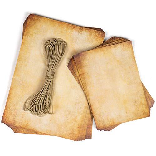 Papel vintage pergamino, DIN A4 110g/m², Pack 50 hojas A4+A5 + hilo kraft, Aspecto Antiguo envejecido, Doble cara, para Escribir y imprimir, Manualidades, recortes, scrapbook