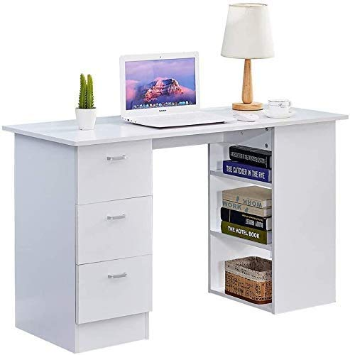 Escritorio blanco ordenador con tres cajones y estante de almacenamiento,White