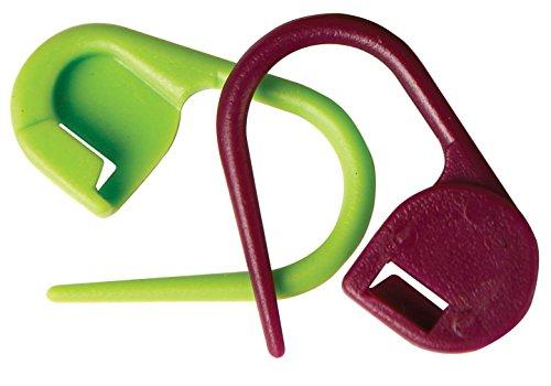 KnitPro Knit Pro Verschließbare Maschenmarker Packung mit 30 Stück Maschenmarkierer, Kunststoff, lila/grün, 11x5x1 cm, Einheiten