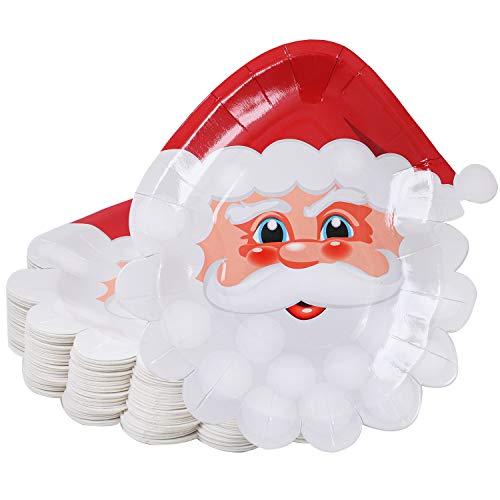 Aneco 50 Stück Weihnachten Pappteller Weihnachtsmann Teller Weihnachten Party Teller Partyzubehör Partygeschirr für Weihnachtsfeier
