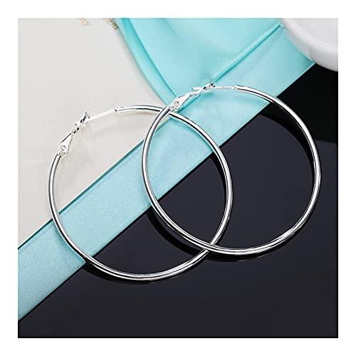 GLADMIN Persönlichkeit Hyperbole 925 Sterling Silber Einfache Glatte Kreis-Reifen Ohrringe für Frauen Sterling-Silber-Schmuck-Pendientes (Gem Color : 50mm)