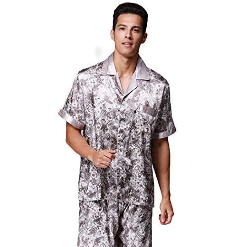 AXIANQIPJS mannen Revers silk pyjamasets print knoop kraag Pantalon korte mouw broek tweedelig pak met tas sexy nachtkleding kan buiten kleding
