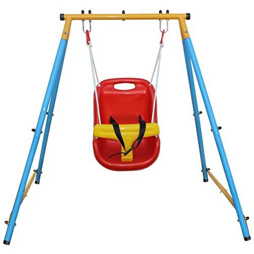 KLB Sport Baby Toddler Indoor/Outdoor Metal Swing Set (Blue, Red, Yellow)