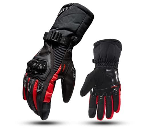 Winter-Motorrad-Handschuhe, 100 % wasserdicht, thermisch, für Scooter, Ski, Snowboard, Touchscreen, Rot XXL