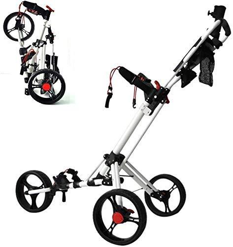 ZXL Chariot de Golf Pliable à 3 Roues - Frein à Pied, Support de gobelet de Chariot de Golf léger réglable, léger en Acier pivotant, améliore la mobilité et Le Stockage sans Effort
