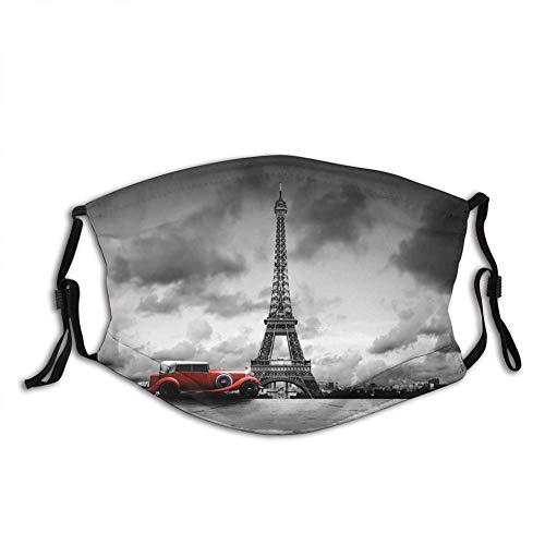 Füller Gesicht Stoff Eiffelturm, Bild von Eiffelturm Paris Frankreich Oldtimer Straße dunkle Wolken, gedruckt grau schwarz rot staubdicht