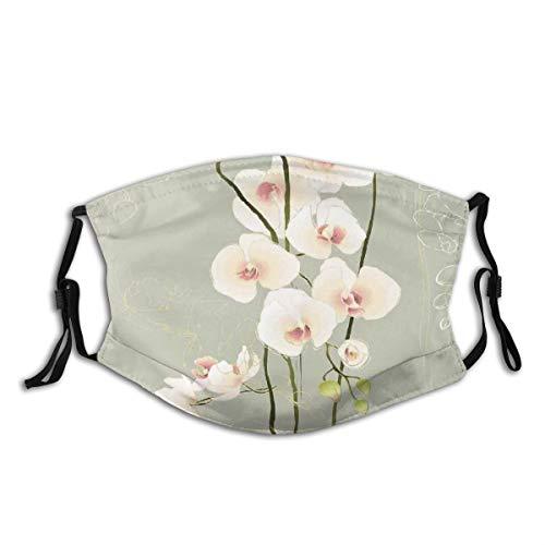 AIMILUX Gesichtsbedeckung,Orchideenblume Blumen Natur Land inspiriert Design Blütenblätter Schablone Kunstwerk,Winddicht Staubschutz Mund Bandanas Outdoor Neck Gamasche Mit 2 Filtern