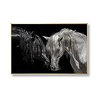 キャンバス絵画プリントアートポスター 現代の馬のキャンバスの家の装飾ロマンチックな動物のポスターと壁の芸術の絵のプリント フレームレス画像50cm x 70 cm20インチx28インチ