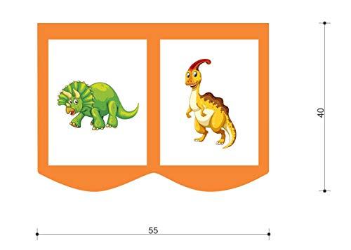 XXL Discount Sac de rangement pour lit d'enfant - Dimensions : 55 x 40 cm - 100 % coton - Accessoires de lit - Lit superposé - Lit mezzanine - Sac en tissu (Orange/beige)