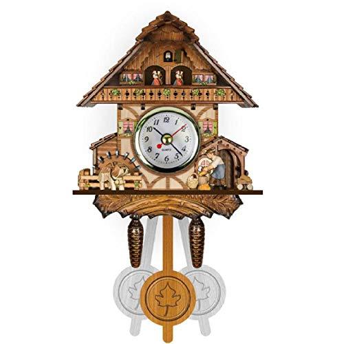 AZHOULIULIU Co.,ltd Reloj de Pared de pájaro Decorativo para el hogar Vintage, Reloj de Cuco de Madera Colgante, Reloj de péndulo para Sala de Estar, Reloj de Arte Artesanal para casa