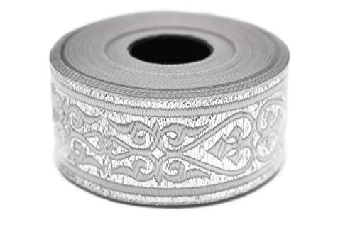 11 Yard Spool 1.37 inches Wide Silver Royal Celtic Heart Jacquard Ribbons Jacquard Trim Ribbon Trim Trimming Sewing Trims Embroidered Ribbons