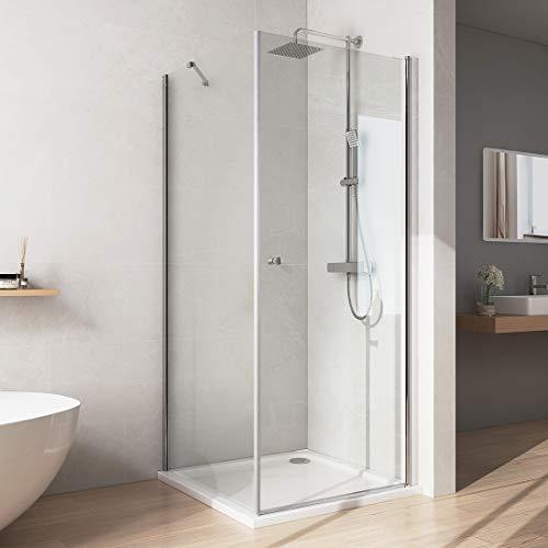 Bath-mann 80x80x185cm Duschkabine Duschabtrennung Schwingtür mit fester Glaswand für Eckeinstieg NANO Easy Clean 6mm Sicherheitsglas
