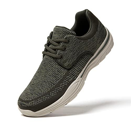 PAMRAY Freizeitschuhe für Männer Slip on Sneakers Low-Top Walkingschuhe Laufschuhe Leichte Atmungsaktiv Turnschuhe Grün 43