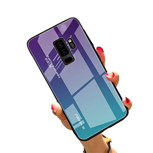 CXvwons Hülle für Samsung Galaxy S9, Handyhülle Galaxy S9 Plus Glashülle Hybrid Silikon TPU mit Gradient 9H Gehärtetes Glas Galaxy S9 Schutzhülle Case Tasche Schale für Samsung Galaxy S9 Plus