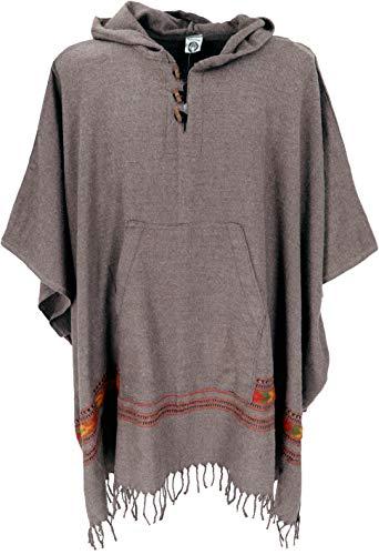 GURU SHOP Poncho Hippie Chic, Warmer Andenponcho, Herren/Damen, Camel, Synthetisch, Size:One Size, Jacken, Strickjacken, Ponchos Alternative Bekleidung