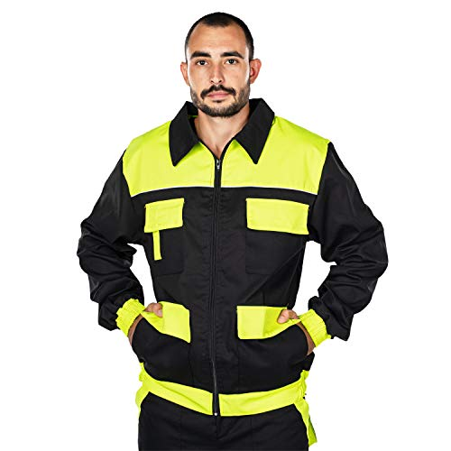 Mazalat Arbeitsjacke männer, Schutzjacke mit vielen Taschen,Arbeitsjacken Herren, Jacket mit Brusttasche Herren, Qualitat Jacke, Arbeitskleidung männer (Schwarz/Neon Grun, XXXL)