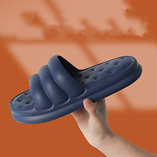 QAZW Pantuflas Pillow Slides para Mujer, Masaje Antideslizante Espuma Ducha Baño Casa Piso Suela Gruesa Secado Rápido Mujer, Zapatos Deslizantes Suaves y Cómodos con Punta Abierta,Blue-11/12