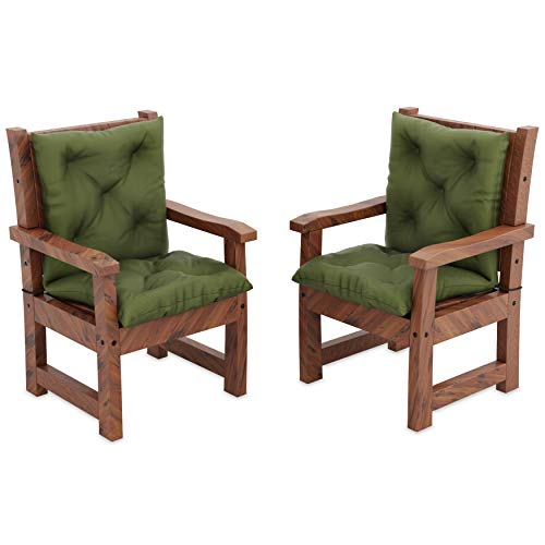 MOLTICO 2er Set Stuhlkissen Sitzkissen und Rückenkissen für Stühle Sessel Wasserdicht - Indoor und Outdoor - 100x50x10 cm - Grün