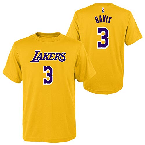 Outerstuff Anthony Davis Los Angeles Lakers #3 Youth Player Name & Number T-Shirt Yellow (Large 14/16)