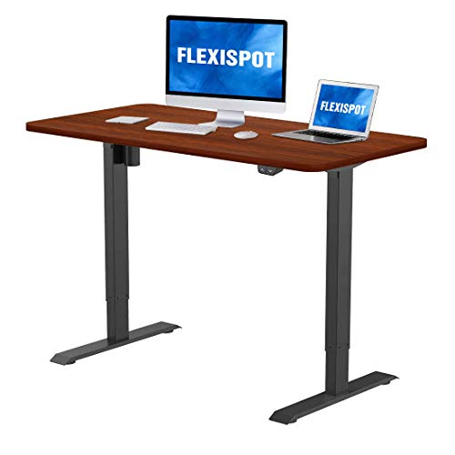 Flexispot Electric Standing Desk 48 x 30 Inches Height Adjustable Desk Sit Stand Desk Base Home Office Table Stand up Desk (Black Frame + 48 in Mahogany Top)