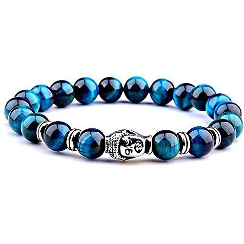 FG Jewels - Pulsera de protección con símbolo de Buda Tibetano para Hombre y Mujer, Piedra Natural, Ojo de Tigre, Color Azul Turquesa y Turquesa Titre