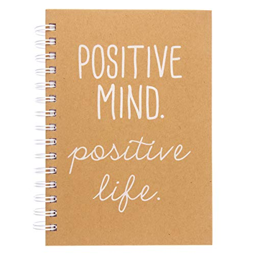 Graphique Hardbound Journal, 'Positive Mind Positive Life' Design – 160 Ruled Pages, Sandstone Cover and Quote Embellished in White Foil, 6.25' x 8.25' x 1' – For Taking Notes, Lists and More
