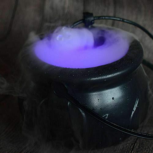 SHIDEDIAN Máquina de Humo de Halloween Bruja Olla máquina de Humo máquina de Aerosol Fuente de Niebla máquina de Niebla con sensores automáticos 12 ciclos Luz LED Cuarto de sensores automático