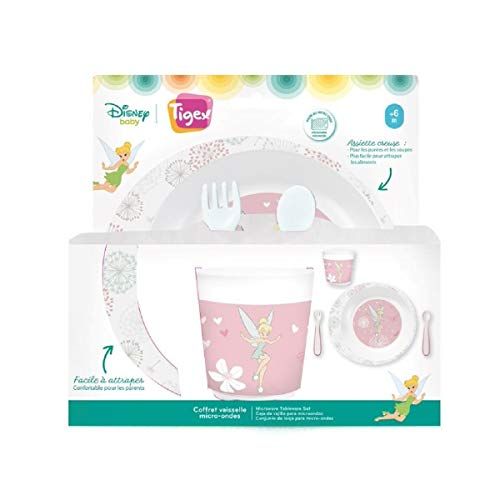 TIGEX Coffret vaisselle micro-ondes Fée Clochette pour bébé