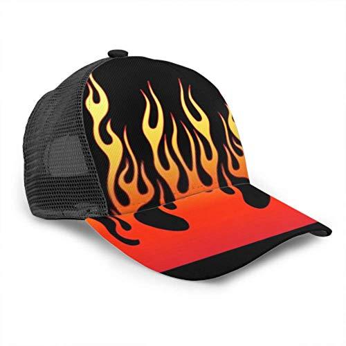 RAUP Baseball Cap Männer Frauen, Flame Vector Fire Tribal Tattoo Auto verstellbare Trucker Mesh Sommer belüftete Baseball Sun Cap Hut Sonnenhüte für Männer