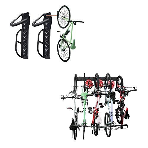 Wallmaster Garage Storage 5 Bicycles Hooks 3 Rails & Bike Rack for Garage 2-Pack Bike Hooks Bike Hanger Wall Mount