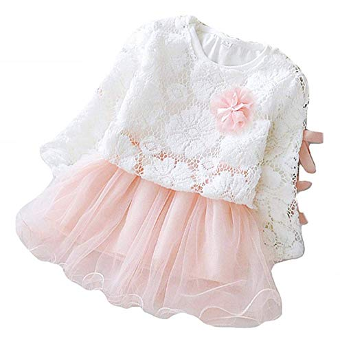 Vestito Cerimonia Bambina - Abito Elegante - Maglietta - Pizzo - Gonna Tulle - Taglia 10-12-18 Mesi - 90 cm - Abbigliamento Bimba