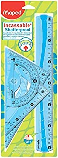 Maped Kit de Traçage INCASSABLE 4 pièces comprenant : 1 règle 30 cm, 1 équerre 60°/21cm, 1 équerre 45°/21 cm et 1 rapporte...
