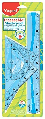 Maped - Kit di tracciatura infrangibile, 4 pezzi, comprende: 1 righello 30 cm, 1 squadra 60°/21 cm, 1 squadra 45°/21 cm e 1 goniometro 180°/12 cm