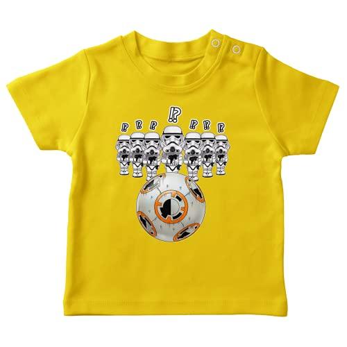 OKIWOKI Star Wars Lustiges Gelb Baby T-Shirt - BB-8 X Stormtroopers (Star Wars Parodie signiert Hochwertiges T-shirt in Größe 6 monate - Ref : 824)