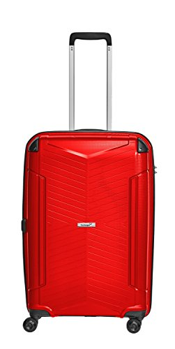 Packenger Koffer - Silent - (L), Rot, 4 Zwillingsrollen, 71 Liter, 3,9Kg, Koffer mit TSA-Schloss, Polypropylen, Reise Trolley