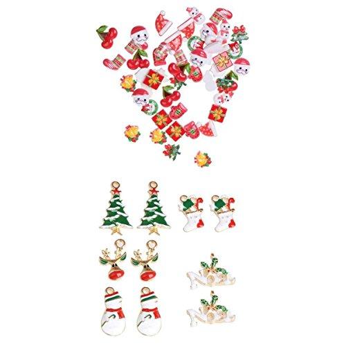yotijar 50 Piezas de Resina de Navidad Colgante de Cabujón de Espalda Plana para Regalo