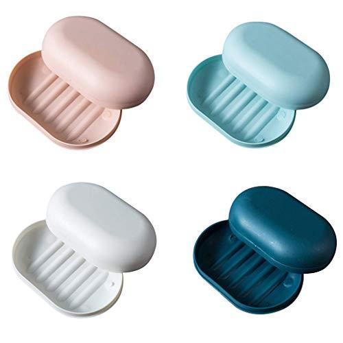 Tecreo 4 Stück Seifendose Reise Seifenschalen Nachhaltig Kunststoff Seifenkiste Seifenkorb Seifenbehälter für Reise