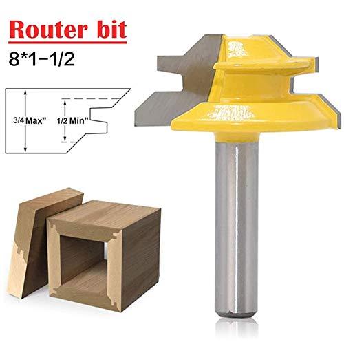 8 * 1-1/2 zur Holz Gehrung Router Bohreinsatz 8mm Shank Tenon Cutter 45 Grad Holz Fräswerkzeuge