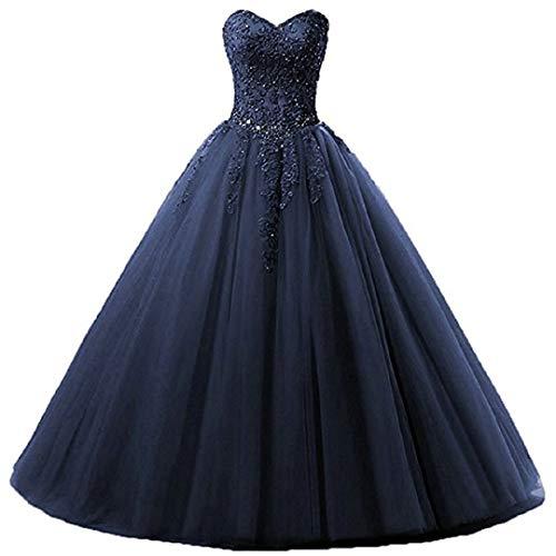 EVANKOU Damen Liebsten Lang Tüll Formellen Abendkleid Ballkleid Festkleider P25 Marineblau Größe 44