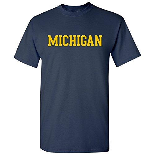 AS01 - Michigan Wolverines Basic Block T-Shirt - Medium - Navy