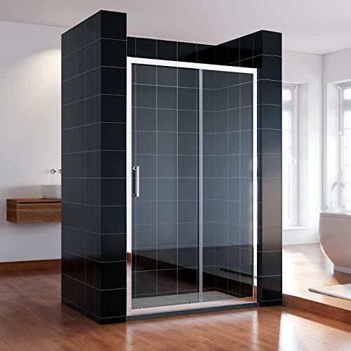SONNI Duschkabine Schiebetür 130 cm Duschtüren Duschabtrennung Glasschiebetür Höhe 185 cm Klarglas Duschwand