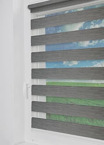 Tom'Shop® Estor doble [aspecto de madera, gris, 40 cm x 220 cm] Duo estores para ventana Klemmfix sin agujeros con soportes de paraplatos para ventana