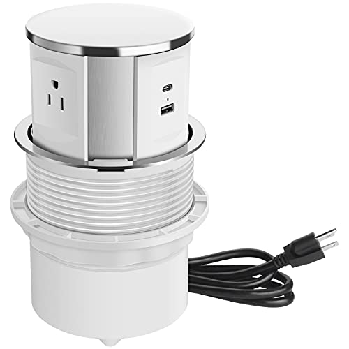 Pop Up Outlet for Countertop, Pop Up Power Strip with USB C Ports, Kitchen Counters Grommet Outlet Center with 3 Outlet and USB Ports.(White)