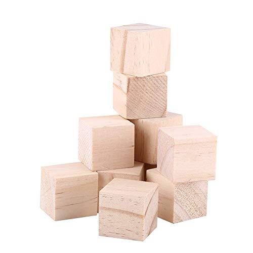 Yosoo Cunos de Madera Natural Bloques Cuadrados Cubos Madera Artesanía Accesorios 25mm-10Psc