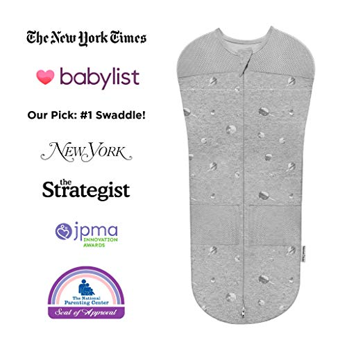Happiest Baby Sleepea Swaddle, Doctor Designed 5-Second Swaddle, Hip Safe, for The Best Sleep, Baby Doesn't Get Upset by Accidentally Rubbing Hands on Face (Graphite Planets, Large)