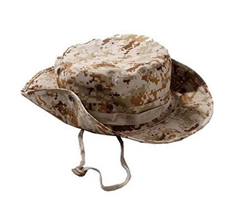 JUNGEN Camuflaje Sombrero Redondeado protección Solar Boone Sombrero al Aire Libre Escalada Selva Hombres Mujeres tácticas Gorra Militar Uniformes (Caqui)