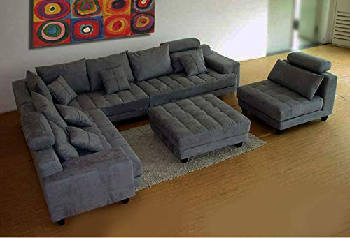 Stendmar 5-Piece Contemporary Solid HE53-5A Dark Grey Microfiber Fabric Sectional Sofa Set S150LDG